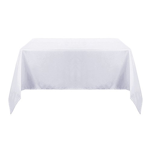 Deconovo Solid Oxford Square Water & Wrinkle Resistant Tablecloth For Dining Room 60 by 60 Inch White