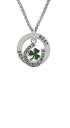 Silvertone Irish Luck Horseshoe with Shamrock - Best Friends Affirmation Ring Necklace