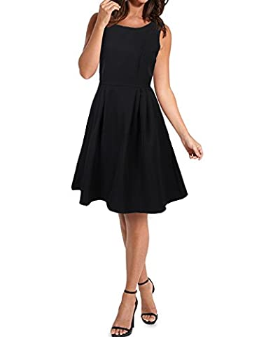 Idgreatim Women's Pinup Housewife Dresses 50's Style Vintage Prom Dresses X-Large Black - Cocktail Dress Jacket