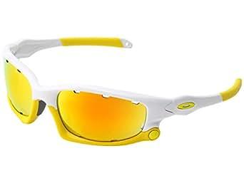 Oakley Men's Split Jacket Iridium Sport Sunglasses (Polished White, Fire Iridium & Persimmon)