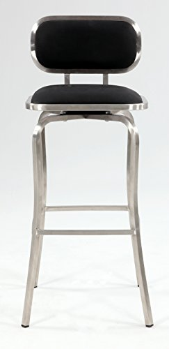 Chintaly Imports Modern Swivel Bar Stool, Brushed Stainless Steel/Black PU