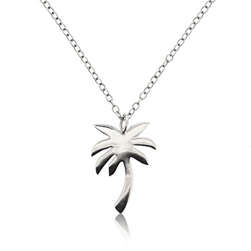 SOVATS Palm Tree Necklace For Women 925 Sterling Silver Rhodium Plated - Beach Jewelry, Simple, Stylish &Trendy Necklace for Teens And Girls
