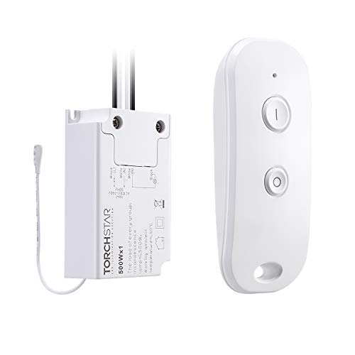 (TORCHSTAR Wireless Remote Light Switch Kit With Remote Control and Receiver - Signal Works Up To 100 Feet Away, for Residential & Office Lighting and Household Appliances, Droplight, LED Light)