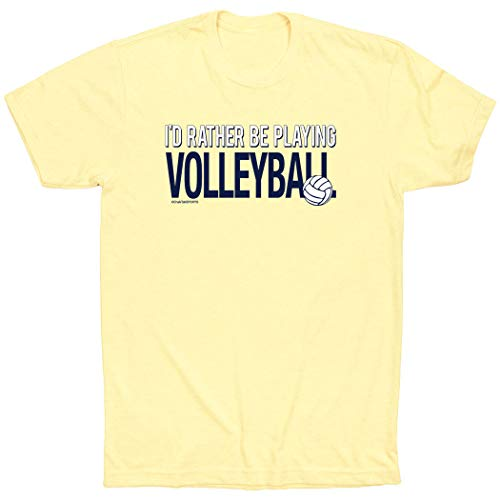 (ChalkTalkSPORTS Volleyball Short Sleeve T-Shirt | I'd Rather Be Playing Volleyball | Yellow | XL)