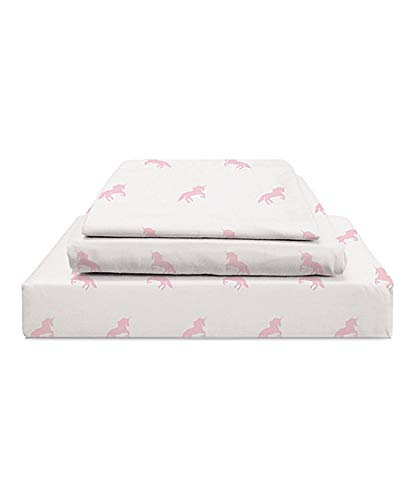 Twin Bedding Organic - Habitat Kids Collection Unicorn Sheet Set in Pastel on White - 100% Organic Cotton Unicorn Sheets for Kids (Pink, Twin)