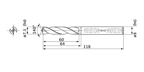 7.3 mm Cutting Dia 1.3 mm Point Length 8 mm Shank Dia. Internal Coolant 5 Hole Depth Mitsubishi Materials MVS0730X05S080 Series MVS Solid Carbide Drill