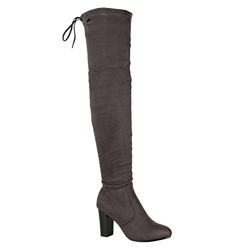 Stiefelparadies Damen Stiefel Overknees Profilsohle Flandell Grau Arriate