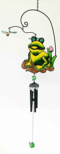Gifts & Decor Gem Lily Pond Frog Hunting Dragonfly Resonant Relaxing Black Coated Copper Wind Chime Garden Patio