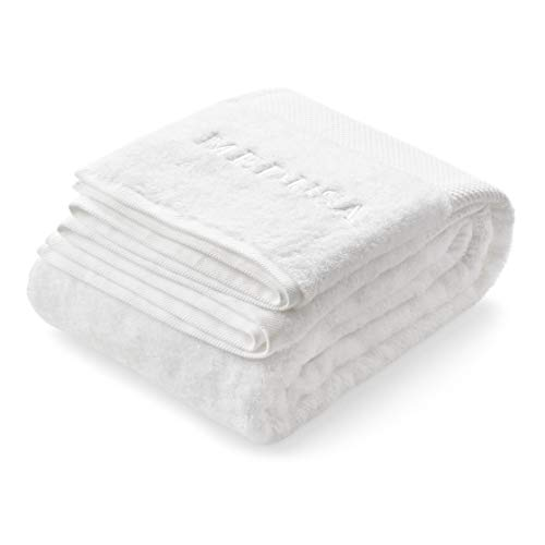 Luxurious White Bath and Spa Towels Extra Large 35.5 x 71 Inch 100% Cotton - Ultra Soft Bathroom Towel for Shower Gym Pool Swimming or Bathing - Highly Absorbent Premium Quality Gift Set 1