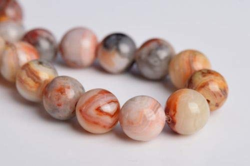 8mm Genuine Natural Red Crazy Lace Agate Grade Round Loose Beads 7.5'' Crafting Key Chain Bracelet Necklace Jewelry Accessories Pendants ()