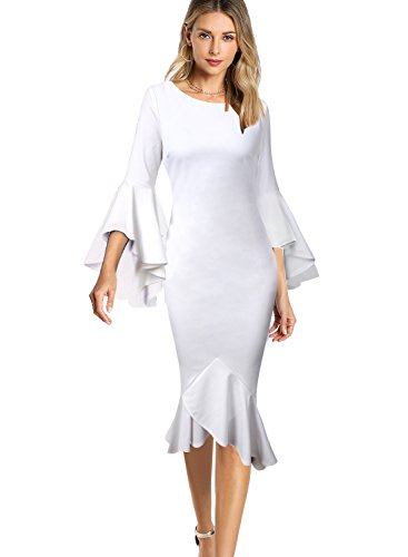 VfEmage Womens Elegant Bell Sleeve Wear to Work Party Cocktail Sheath Dress 9422 WHT 12 (Wear Party Cocktail)
