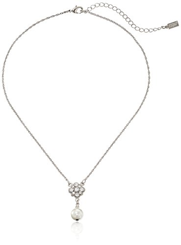 (1928 Jewelry Silver-Tone Simulated White Pearl and Crystal Adjustable Pendant Necklace, 16