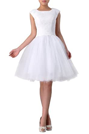 Special Occasion Lace Natrual Bateau Sleeveless Tulle Short Wedding Dress , Color Baby Blue ,2
