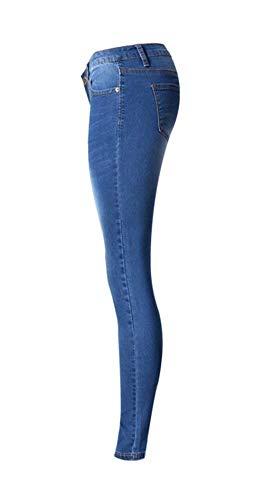 Davanti Casuale Jeans Outdoor Con Blu Sul Bottoni Pantaloni Donne Donna Skinny Frontali wZ7xSzB