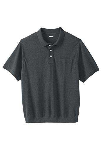 - KingSize Men's Big & Tall Banded Bottom Pocket Pique Polo Shirt, Heather Charcoal Big-3XL
