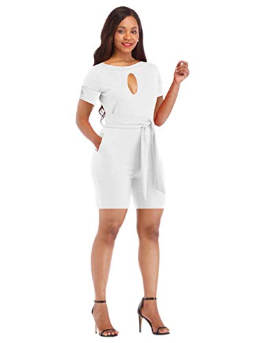(Sexy Women Rompers and Jumpsuits Shorts Club Wear Elegant Wide Leg Pants Plus Size Short Sleeve Casual Summer Belt Pockets White XL)
