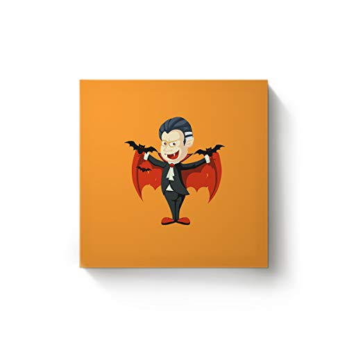 Arts Language Canvas Wall Art Square Oil Painting Office Home Decor,Cartoon Vampire Design Happy Halloween Artworks for Christmas,Stretched by Wooden Frame,Ready to Hang,36 x 36 -