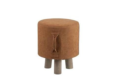 Wadiga sgabello bambino treppiede similpelle marrone e legno