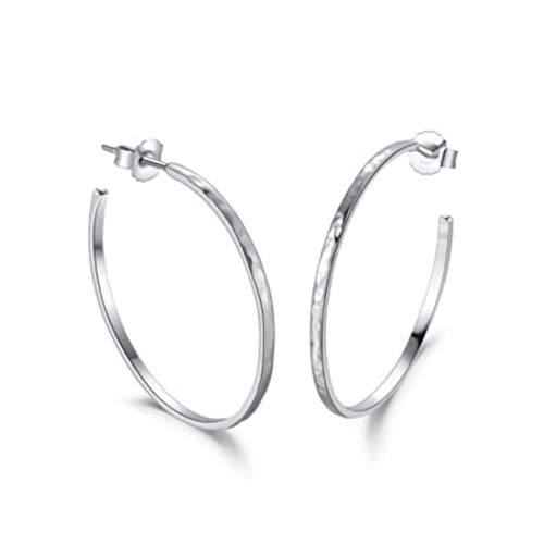 Carleen Hammered White Gold Plated Sterling Silver Large Big Dainty Hoop Earrings Dainty Fine Jewelry For Women Girls, Diameter 1.4 Inch