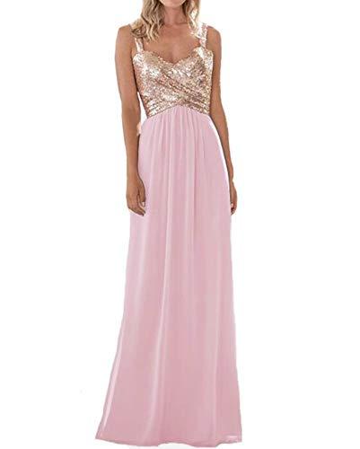 liangjinsmkj Women's Sequined Bridesmaid Dresses Sweetheart Long Wedding Party Prom Dress Baby Pink US14 -