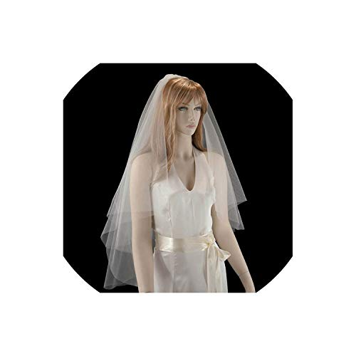 (Layer 2 Bridal Veils White Ivory Raw Edge Wedding Accessories Fingertip Length Veil With Comb,Ivory)