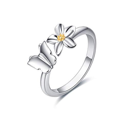 LUHE Adjustable Butterfly Ring for Women Girls Sterling Silver Open Daisy Flower Ring Jewelry (Butterfly Rings)