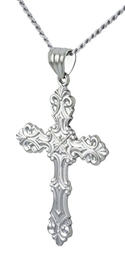 New Large 2in 0.925 Sterling Silver Ornate Cross Religious Pendant 3.0mm Figaro Necklace, 20'' by US Jewels And Gems