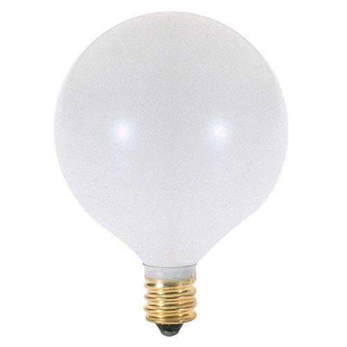 Candelabra Base Satin White Globe (Satco S3753 120V Candelabra Base 25-Watt G16.5 Light Bulb, Satin)