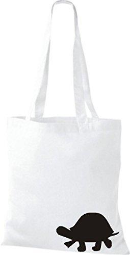ShirtInStyle Bolsa de tela Bolsa de algodón divertida Animales Tortuga Blanco
