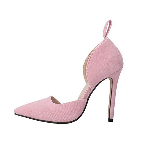 Fereshte Womens Elegant Faux Mocka Pekade Tå Ankelbandet Sandal Klänning Part Pump Med Rosett Rosa