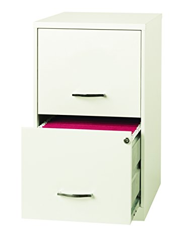 "Space Solutions 2-Drawer Metal File Cabinet with Lock, 18"" Deep x 14.25"" Wide x 24.5"" Tall - White"