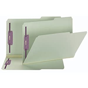 """Smead Pressboard Fastener Folder with SafeSHIELD Fasteners, 2 Fasteners, 2/5-Cut Tab Right Position, Guide Height, 2"""" Expansion, Legal Size, Gray/Green, 25 per Box (19920)"""
