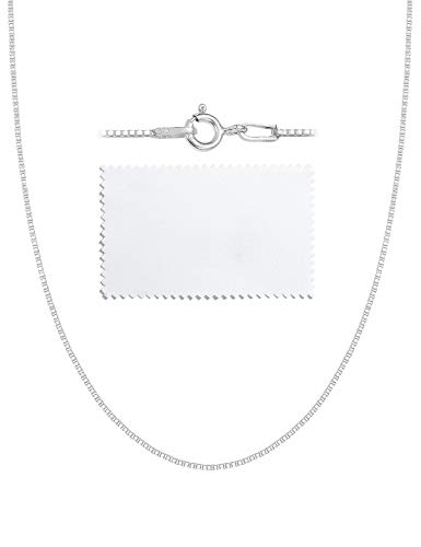 Silver Box Ring - ASHINE Sterling Silver Chain Necklace for Girl 1mm Box Chain Spring Ring Clasp 17 Inches