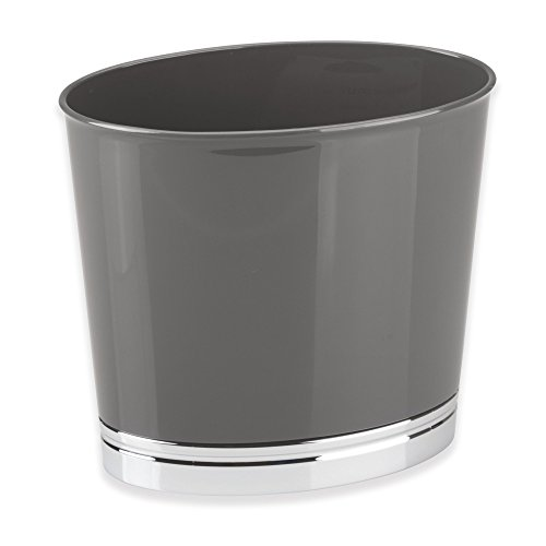 mDesign Oval Slim Decorative Plastic Small Trash Can Wastebasket, Garbage Container Bin for Bathrooms, Kitchens, Home Offices, Dorm Rooms - Slate/Chrome Finish Base by mDesign