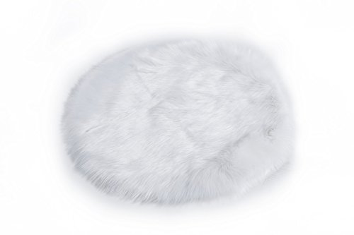 HCSTAR Faux Sheepskin Rug Soft Carpet Chair Cover Seat Pad Shaggy Area Rugs For Bedroom Sofa Felt Fur Non-slip Good Grip 2.5 Foot, White
