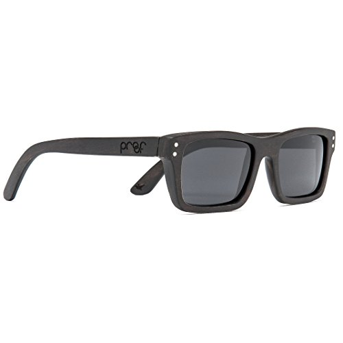 Proof Boise Wood - Handcrafted Wooden Square-Frame Sunglasses, Black Maple, Gray - Proof Sunglasses Wood