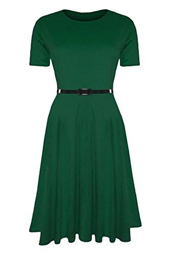 - Oops Outlet Women's Belted Cap Sleeve Flared Franki Swing Midi Skater Dress Plus Size (US 20/22) Jade Green