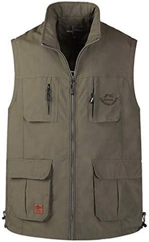 メンズアウトドア春、夏と秋の薄いセクションベスト写真釣り綿マルチポケット中年男性のベストツーリングベスト (色 : Army green color, サイズ さいず : 3XL)