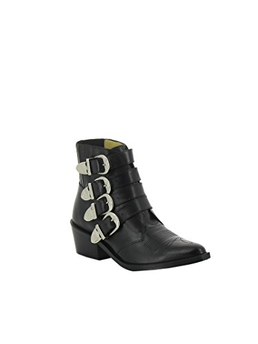 AJ006BLACK Pulla Black Leather Toga Boots Ankle Women's PTw7nqnE