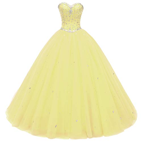 Beautyprom Women's Sweetheart Ball Gown Tulle Quinceanera Dresses Prom Dress Yellow US16