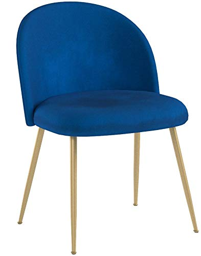 Tufted Accent Chairs, Velvet Upholstered Chairs with Gold Plating Metal Legs Blue&Brass for Living Room/Dinning Room/Kitchen/Vanity/Patio, Set of 2 (Cobalt/Royal Blue)