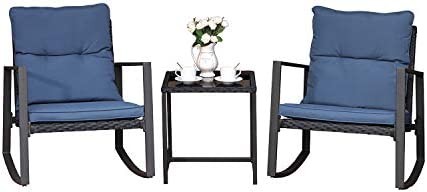 COSIEST 3 Piece Bistro Set Patio Rocking Chairs Outdoor Furniture w Blue Cushion