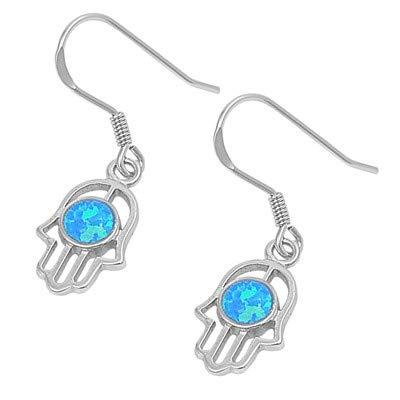 Hand of God Blue | Cute Jewelry Gift Glitzs Jewels 925 Sterling Silver Created Opal Earrings