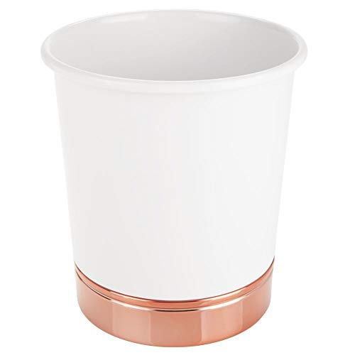 (mDesign Decorative Round Metal Small Trash Can Wastebasket Organizer, Garbage Container Bin for Bathrooms, Kitchens, Home Offices - White/Rose Gold)