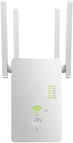 Superboost WiFi Extender Signal Booster, Long Range as much as 2500 FT, 1200 MBPS Wireless Internet Amplifier - Covers 15 Devices with 4 External Advanced Antennas, LAN/Ethernet (White)