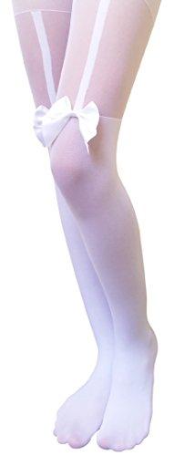 AM Landen Mock Thigh High/Mock Garter/Printed Tights/Tatoo Pantyhose (1-White Bow)