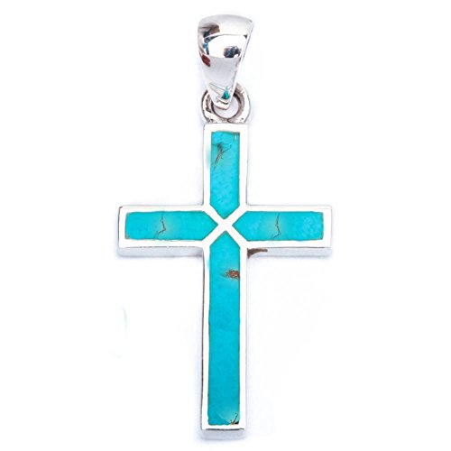Cross Pendant Cross Charm Simulated Blue Turquoise Gemstone 925 Sterling Silver (30mm) (Stone Simulated Cross)