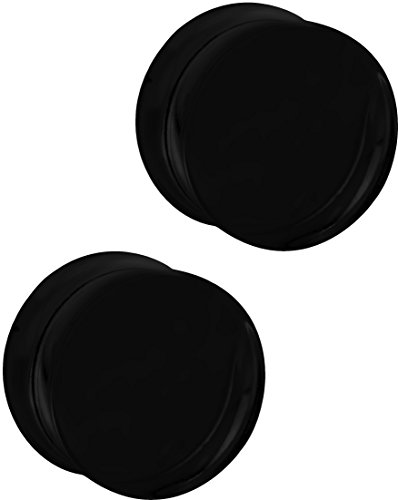 Set of 3/4 Inch Black Acrylic Ear Gauges, 19mm Solid Double Flared Saddle Plug (Plugs 19mm Body Jewelry)