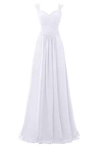 Topdress Women's Spaghetti Bridesmaid Sweetheart Prom Long Evening Gowns White US (White Goth Dress)
