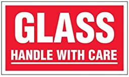 Paper Glass Handle With Care Label - 3-1/2\